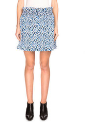 Kenzo Double Face Popcorn Jacquard A Line Skirt Midnight Blue