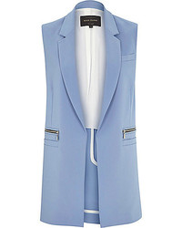 River Island Light Blue Woven Sleeveless Jacket