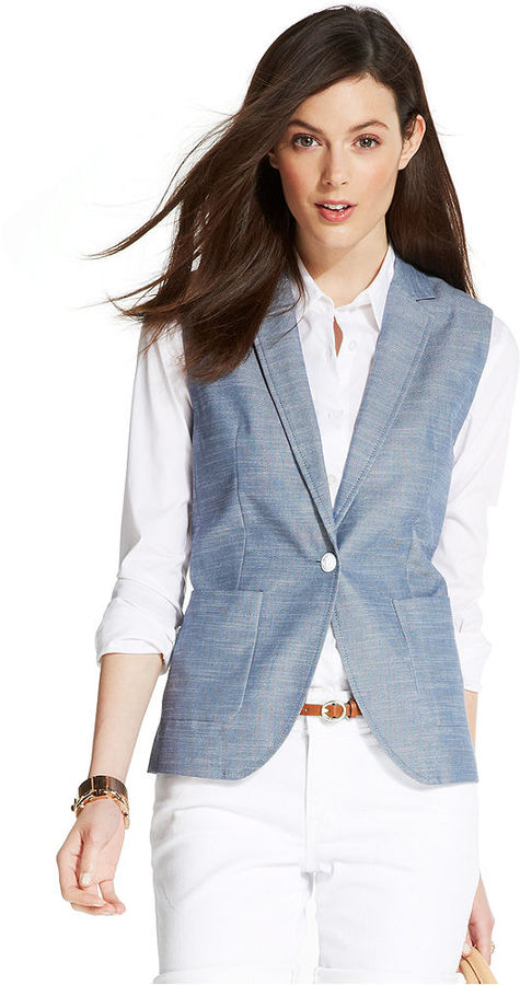 Tommy Hilfiger Sleeveless Chambray Blazer Vest
