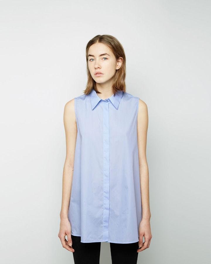 Light blue sleeveless button down shirt acne studios ash for Sleeveless cotton button down shirts