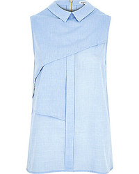 River Island Blue Pleat Layer Sleeveless Shell Shirt