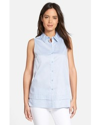 Nordstrom Collection Sleeveless Cotton Poplin Shirt