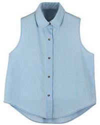 Romwe Doll Collar Buttoned Arc Hem Sleeveless Light Shirt