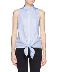 Equipment Mina Tie Front Stripe Sleeveless Shirt