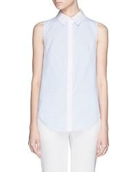 Nicholas Stripe Ruffle Back Sleeveless Cotton Shirt