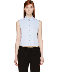 Alexander Wang T By Blue Cropped Poplin Shirt