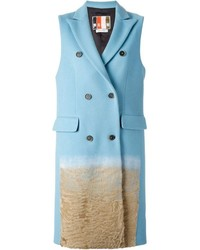 MSGM Textured Ombr Detail Sleeveless Coat
