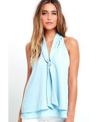 LuLu*s Handle My Business Light Blue Sleeveless Top