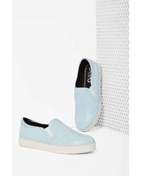 Nasty Gal Factory Cruz Faux Crocodile Slip On Sneaker Ice Blue