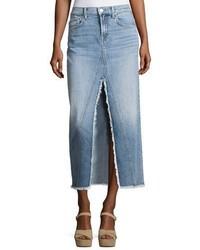 Light Blue Slit Denim Maxi Skirt