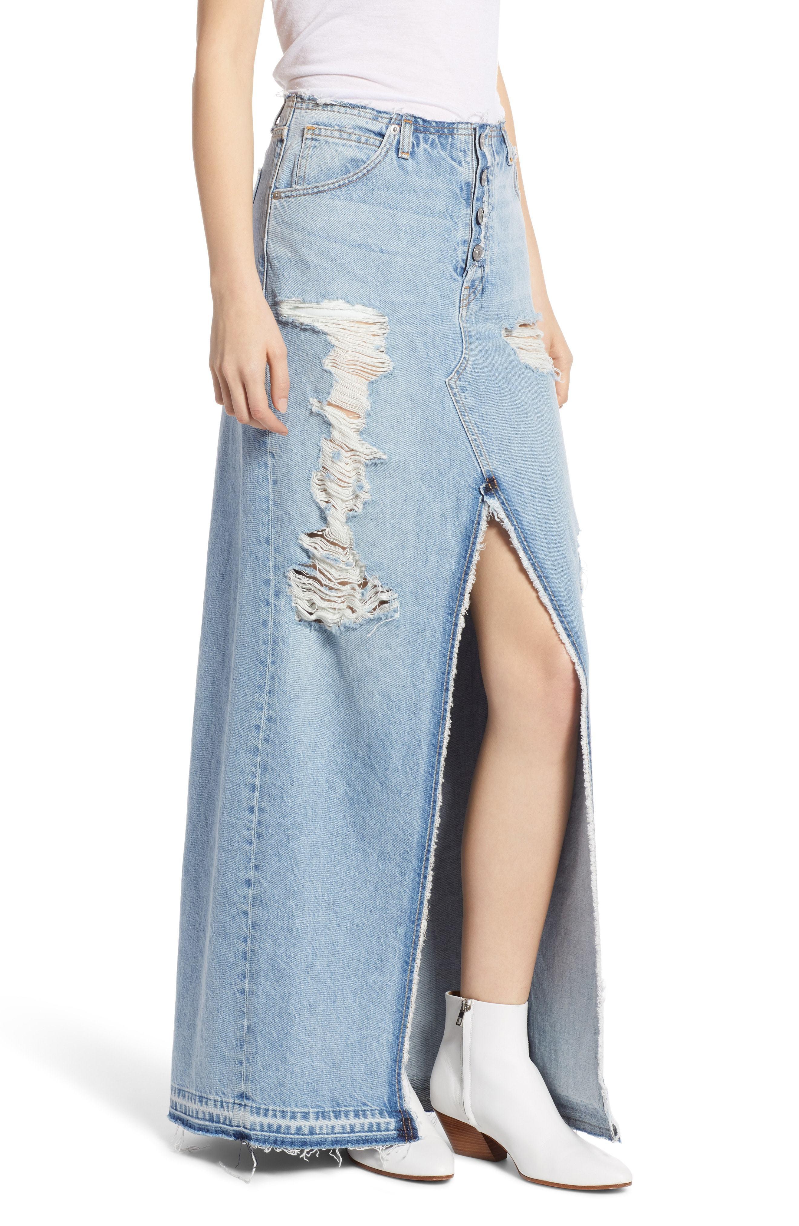f52dabf8db3 Hudson Jeans Sloane Long Denim Skirt, $255   Nordstrom   Lookastic.com
