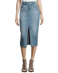 Light Blue Slit Denim Pencil Skirt