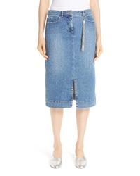 Fabiana Filippi Denim Pencil Skirt With Tassel
