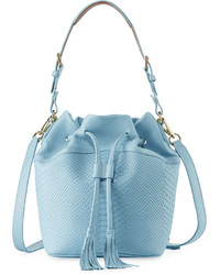 GiGi New York Jenn Snake Embossed Bucket Bag Blue