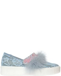 Sophia Webster 30mm Lace Feathers Sneakers