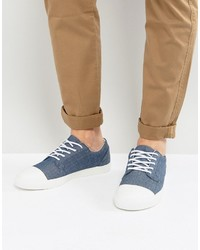 Asos Lace Up Sneakers In Blue Chambray