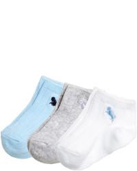 H&M 3 Pack Ankle Socks Light Blue Kids