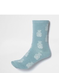 River Island Light Blue Pineapple Print Socks
