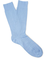 Pantherella Pembrey Ribbed Sea Island Cotton Blend Socks