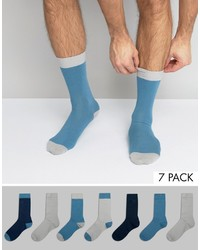 Asos Socks In Blue 7 Pack
