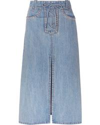 Miu Miu Lace Up Studded Denim Midi Skirt