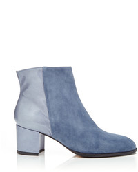 Carmelinas Ana Ankle Boot In Jean Suede And Blue Patent Saffiano Leather