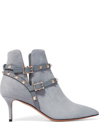 The rockstud leather trimmed suede ankle boots light blue medium 845759