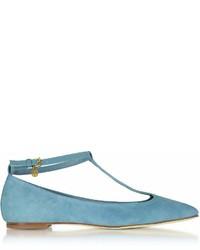 Tory Burch Blue Yonder Suede Ashton T Strap Flat Ballerina