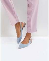 Dune London Flat Suede Shoe With Crystal Detail In Cornflower Blue