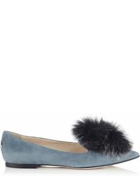 Gale flat dusk blue pointy toe flats with steel mix fox fur medium 6989282