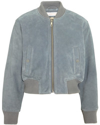 See by Chloe See By Chlo Suede Bomber Jacket Sky Blue
