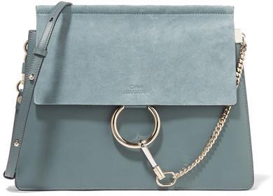 133f377378 $1,950, Chloé Faye Medium Leather And Suede Shoulder Bag Blue