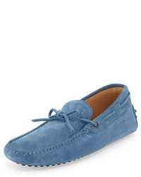 Tod's Gommini Suede Tie Driver Light Blue