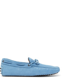 13348f0d87e Light Blue Suede Driving Shoes for Men