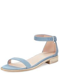 Light Blue Suede Flat Sandals for Women