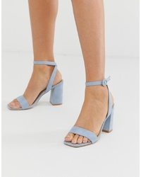RAID Wink Pale Blue Square Toe Block Heeled Sandals