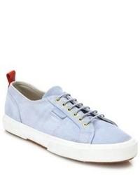 Light Blue Suede Slip-on Sneakers