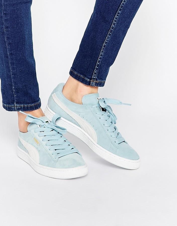 best sneakers 9df6a 0204d $89, Puma Pale Blue Suede Basket Sneakers