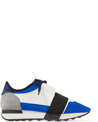 Balenciaga Race Runner Leather Mesh Suede And Neoprene Sneakers Bright Blue