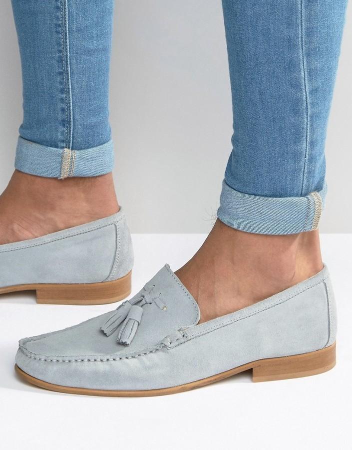 Asos Tassel Loafers In Pastel Blue