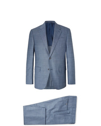 Ermenegildo Zegna Blue Slim Fit Wool Linen And Silk Blend Suit