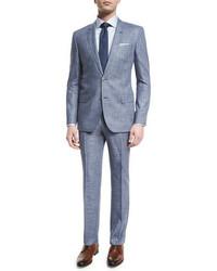 Boss Hugo Boss Hutson Gander Space Dye Two Piece Wool Suit Light Blue
