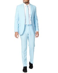OppoSuits Cool Blue Trim Fit Two Piece Suit With Tie