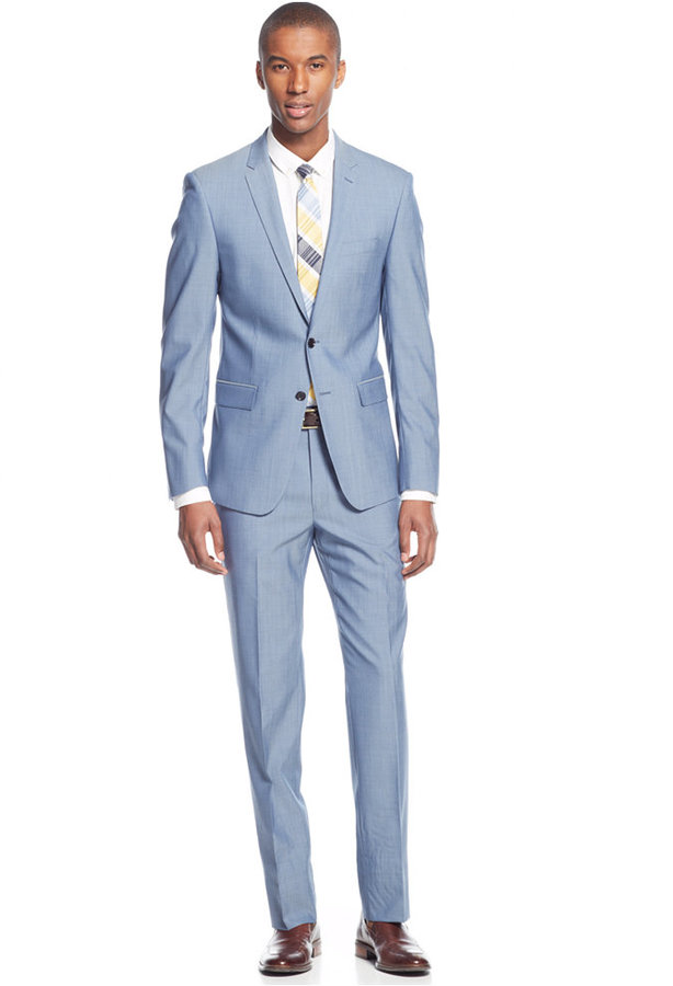 Dkny Blue Chambray Extra Slim Fit Suit Where To Buy