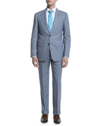 Armani Collezioni G Line Melange Solid Two Piece Suit Light Blue