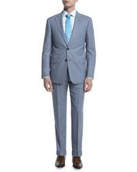 Armani Collezioni G Line Melange Solid Two Piece Suit Light Blue