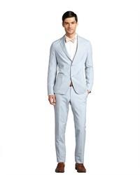 Ermenegildo Zegna Light Blue Striped Cotton Blend Two Button Suit With Flat Front Pants
