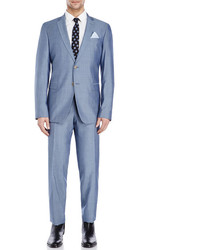 Sand Light Blue Two Piece Wool Suit