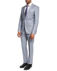 BOSS Melange Two Piece Wool Suit Light Bluegray