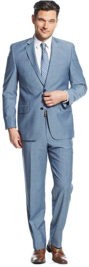 MICHAEL Michael Kors Michl Michl Kors Light Blue Sharkskin Suit